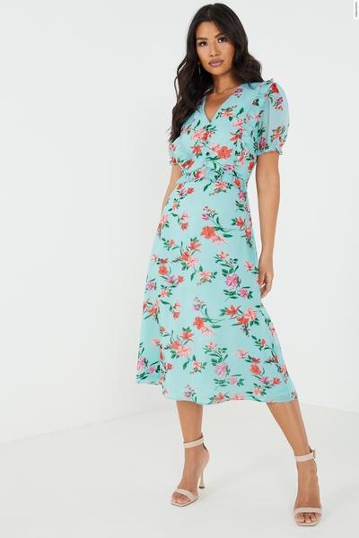 Mint Floral Midaxi Dress